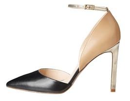 Women's  Nine West TIMEFORSHO Dress Pumps Heels Leather Black Beige Gold US 10 - $49.00