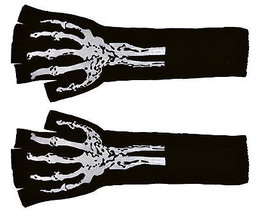 Gloves Long Fingerless W Skel  Costume Accessories - $23.40