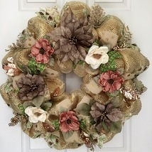 Gold Poinsettia Floral Christmas Wreath Handmade Deco Mesh - $94.99