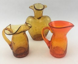 3 Vtg Amber Orange Crackle Art Glass Creamer Vase Blenko? - $24.30