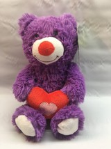 "Bear Plush stuffed 11"" animal adventure Valentines Purple bear Red Heart A10 - $12.99"