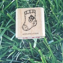 Stampin' Up! Country Stitched Sock Stocking Rubber Stamp 1996 Christmas Wooden  - $8.41