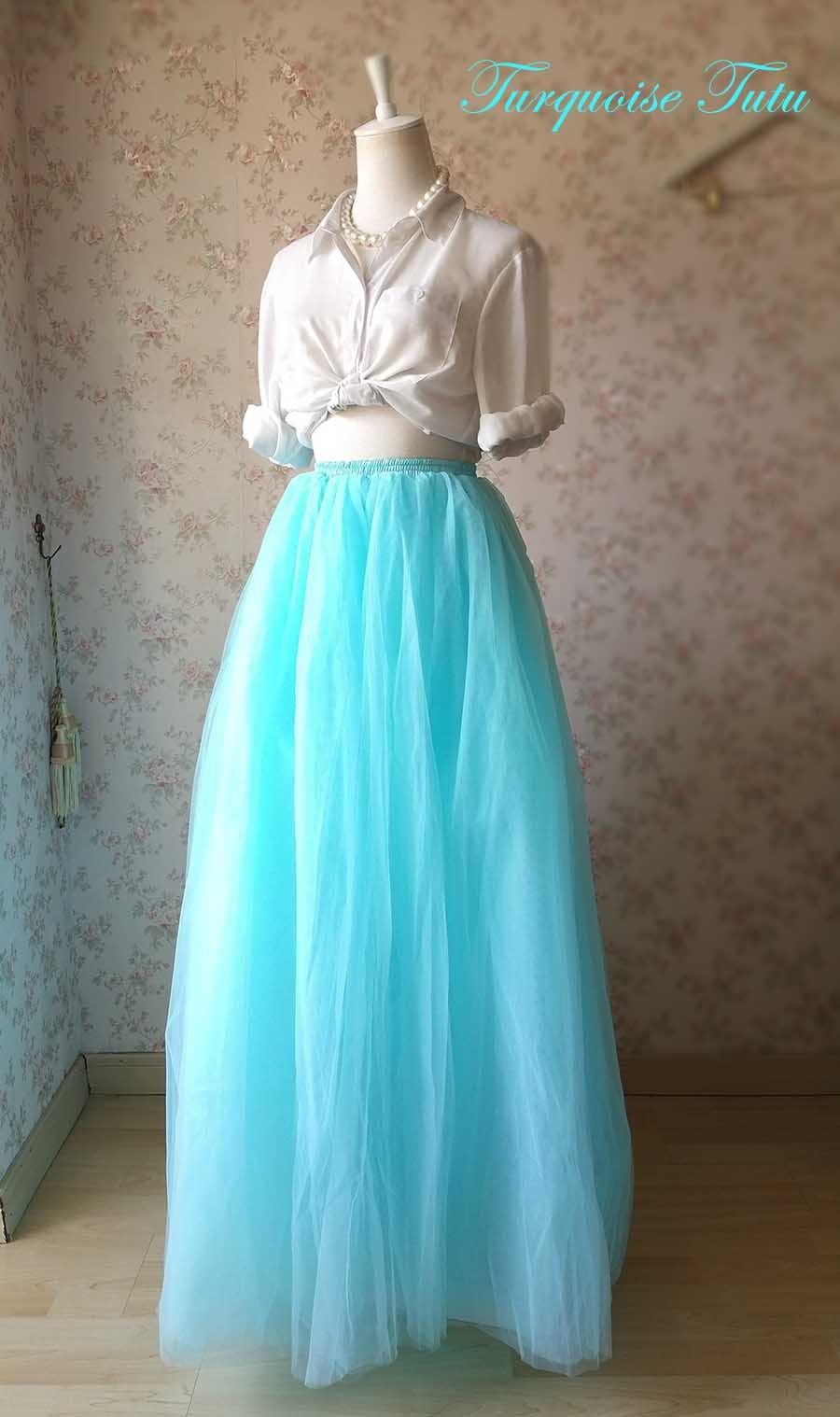 TURQUOISE BLUE Maxi Floor Length Tulle Skirt Plus Size 6-Layer Bridal Tutu Skirt