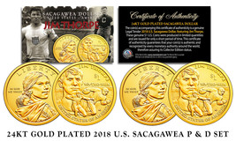 2018 Native American Sacagawea JIM THORPE $1 Dollar 2-Coin Set 24K GOLD ... - $12.16
