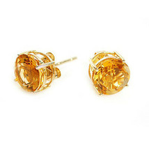 0.50 CARAT 4mm 14K SOLID YELLOW GOLD CITRINE ROUND SHAPE STUD EARRINGS  - $34.63