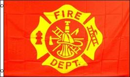 FIRE DEPARTMENT EMBLEM RED 3 X 5 FLAG FL736 axes hat fire fighter banner... - $6.27