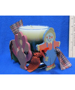 Thanksgiving Candle Ring Turkey Scarecrow Corn Cob Oak Leaf & Green Candle - $12.86