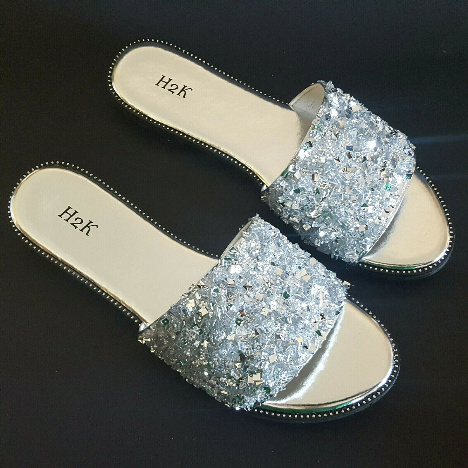 Primary image for H2K Dream SILVER Glitter Bling Sparkle Fancy Slides Sandals Low Flats New In Box