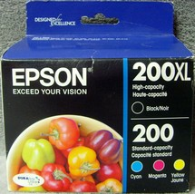 Epson 200 XL BLACK color ink workforce WF2540 WF2530 WF2520 printer copi... - $47.49