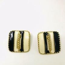 Estate Vintage Square Black Ivory Enamel Pierced earrings K425 - $12.34