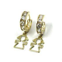 18K YELLOW GOLD PENDANT EARRINGS, MINI CUBIC ZIRCONIA HOOPS WITH GIRL PENDANT image 3