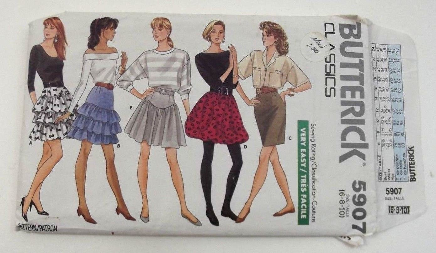Butterick 5907 Sewing Pattern Misses Variety Of Skirts Size 6 To 10 Uncut