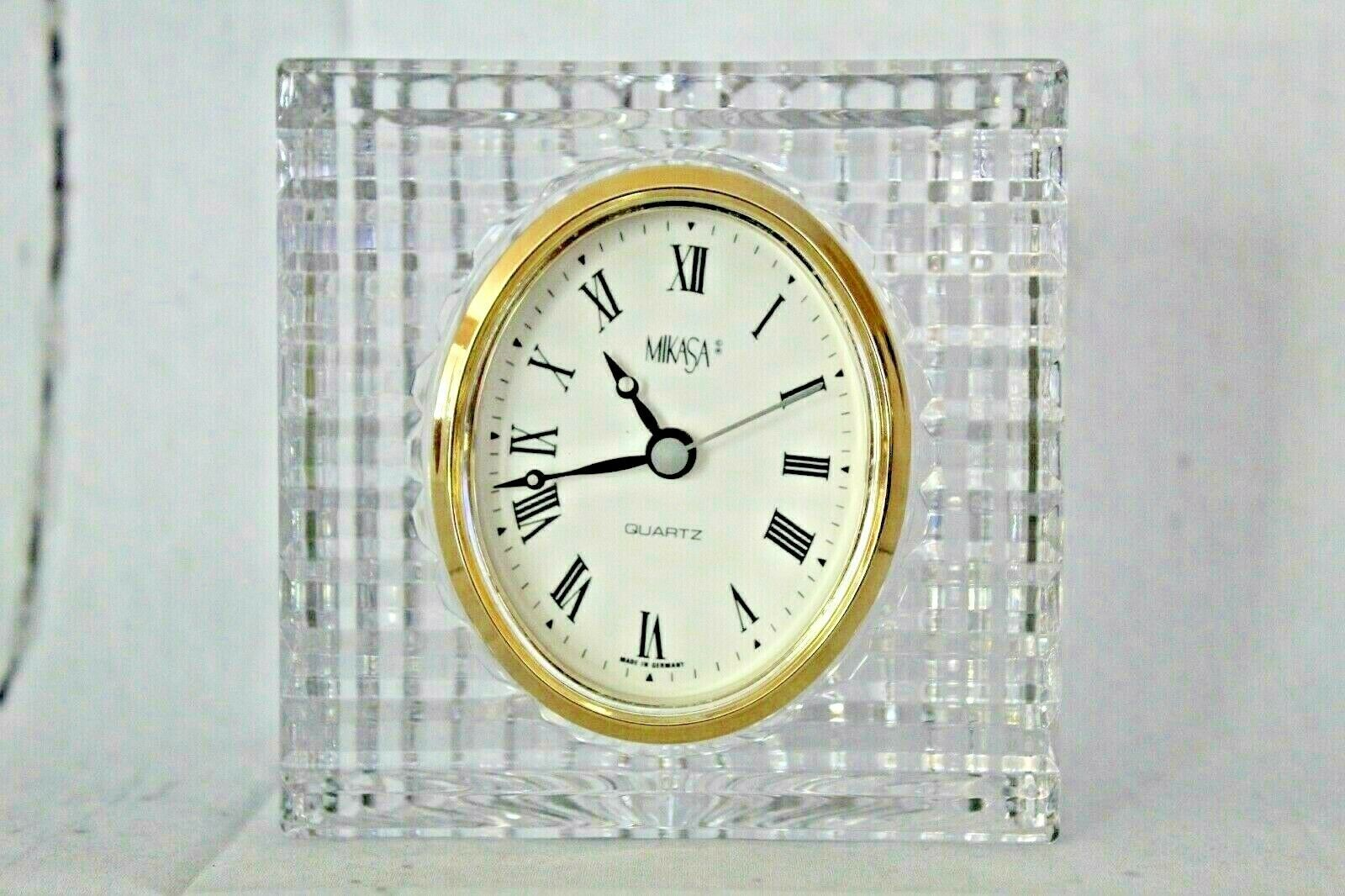 "Primary image for Mikasa Crystal Quartz Clock for Desk Mantle counter 4.25"" x 4.25"" German Made"