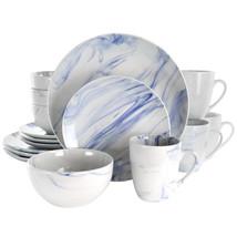 Elama Fine Marble 16 Piece Stoneware Dinnerware Set in Blue and White - $68.02
