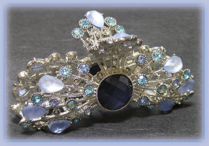 Hair Clamp Blue Lavender Crystals & Stones Moonburst Sunburst Striking! Bonanza