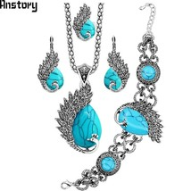 Vintage Peacock Synthetic Turquoises Jewelry Set Necklace Earring Bracelet Ring  - $24.17