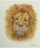 Wildlife Art Lion Monotype Hand Pulled Print Solomon - $35.00