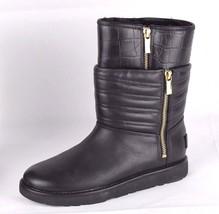 UGG Australia women's boots lamb leather black double zip size 6 M - $83.78