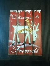 Christmas Sign Welcome Friends Reindeer Wood wooden Glitter Wall Decor - $13.62