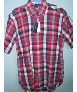 NWT Men's Tommy Hilfiger Short Sleeve Red Plaid Shirt (S/P) - $14.00