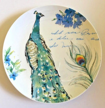 "Peacock Ceramic Plates Salad Dessert Lunch Bread Set of 4 Prima Design 8.5"" - $44.44"