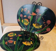 2 Oval Wood Placemats Place Mats Tropical Fish St. Martins Island - $15.99
