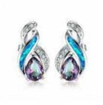 Women's Woman Rainbow Crystal Blue Artificial Opal Charm Silver Pendant ... - $12.00