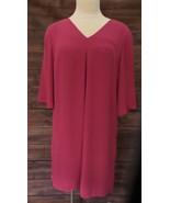 DR2 By Daniel Rainn Pink Dress V Neck Criss Cross Back Women's Size Medi... - $27.88