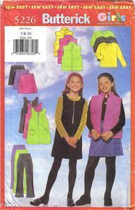Butterick 5226 Vest Jumper Skirt Pants Top Girls 12-14 1997  Bonanza