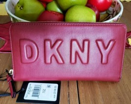 DKNY TILLY Scarlet Red WALLET Zip-Around Clutch Signature Logo NWT image 1