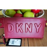 DKNY TILLY Scarlet Red WALLET Zip-Around Clutch Signature Logo NWT - $59.99