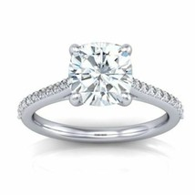 1.40CT Cushion Cut Forever One Moissanite White Gold Ring With Diamonds - $1,076.63+