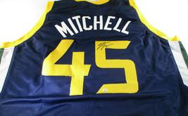 DONOVAN MITCHELL / AUTOGRAPHED UTAH JAZZ BLUE CUSTOM BASKETBALL JERSEY / COA image 1