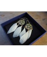 White feather dangle earrings, gold plated ear hooks with circle, Boho j... - $12.99