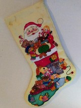 Vtg Christmas Stitched Embroidery Stocking Kit Toys Santa Good Girls Boy... - $25.19