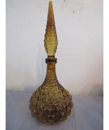 """Mid Century Amber Glass Genie Bottle Decanter Boopie 16"""" - $44.57"""