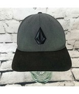 Volcom Mens Sz S-M Hat Gray Black Fitted Flexfit Pro Back Baseball Cap - $19.79