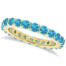 1CT Aquamarine Eternity Ring 14K Yellow Gold - $595.04+