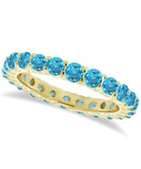 1CT Aquamarine Eternity Ring 14K Yellow Gold - $595.04+