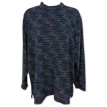 BonWorth Blouse Long Sleeve Textured Blue Sparkling Mock Neck Top Size PS - $10.39