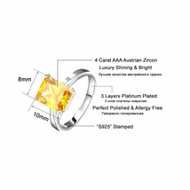 OrsaJewels® Luxury Zircon Ring Earring Set With 4 Carat Cut Yellow image 2