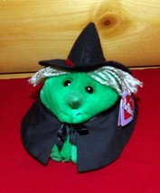 "Puffkins Plush 5"" HAZEL Sweet Green Witch Puffball with Black Cape & Hat - $8.88"