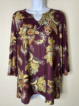 Chico's Womens Size 0 Maroon Floral Pattern Tunic Blouse 3/4 Sleeve - $22.77