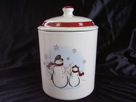 Royal Seasons Snowman Canister Red Retired - $39.00