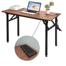 Frylr Folding Computer Desk with Plugs & USB Ports, Home Office Desks Foldable 4