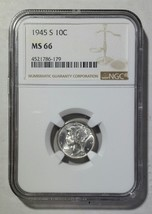 1945S Mercury Silver Dime 10¢ Coin NGC MS66 - Lot# SR 1241