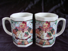 2 Ceramic Christmas Holiday Gingerbread Hot Chocolate Cocoa Coffee Mugs ... - $24.99
