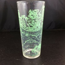 Davy Crockett Glass Tumbler Indian Fighter Statesman Clear Green 6 1/2 Tall - $19.75
