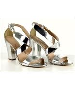 J Crew Women's Callie High-Heel Metallic Sandals 10.5 A0533 Silver - $45.99