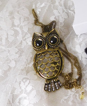"""Avon Wise Owl Pendant Necklace Brooch Combination - Owl 3"""" Chain 30""""+3"""" Extender - $17.87"""